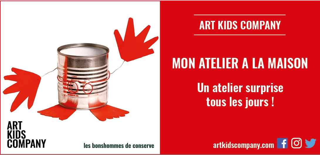 Annonce de l'atelier pour enfants les bonhommes de conserve créé par Art kids Company
