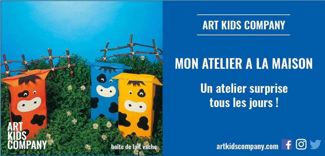Annonce atelier Boite de lait vache, par Art Kids Company