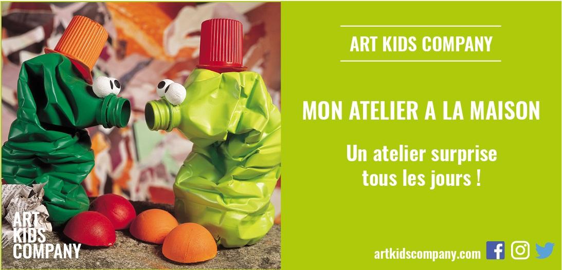 Annonce de l'atelier pour enfants les bouteilles récup créé par Art kids Company