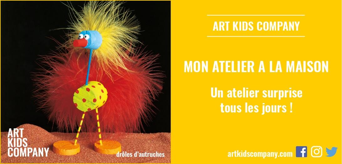 Annonce de l'atelier pour enfants drôles d'autruches créé par Art kids Company