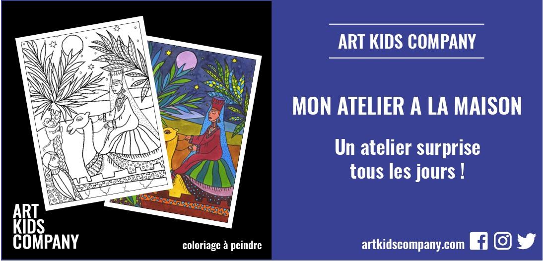 Annonce atelier coloriage à peindre : un voyage au Maroc par Art Kids Company